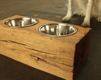 Wood Dog Dish Holder reclaimed  barn beam 2 BOWL MEDIUM