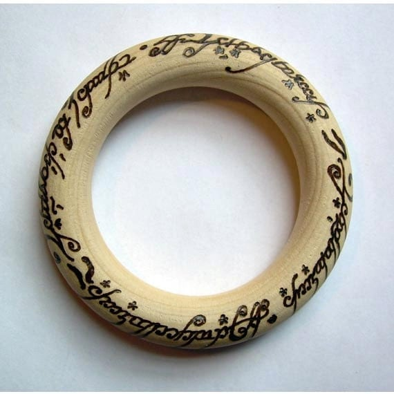 Elvish Lord of the Rings Baby Teether - Wooden Teething Ring OR Necklace OR Christmas Ornament - Nursing - Breastfeeding