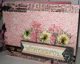 Chipboard Album So Wonderful  in Soft Pink and Creamy Gray  7x9 inches