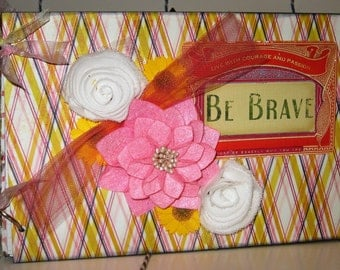 Life Journey Photo Album BE BRAVE in Vibrant Yellow and Pink 6x9 inches