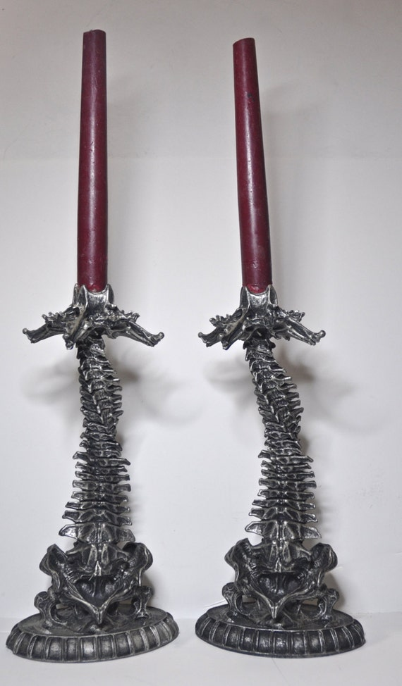 Helix Ossuary Candlestick holders, pair