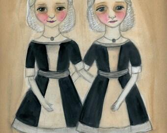 Twins Illustration, Victorian Sisters,  Identical Twins Art, Watercolor Portrait, Art Print (6x8) Victorian Goth Decor, The Twins