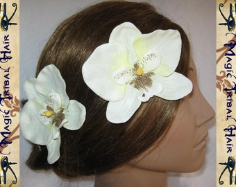 WEDDING HAIR FLOWERS white bridal orchid hair jewelry Tribal Fusion Belly Dance hair accessory Bride flower headpiece Bridesmaids hairdo