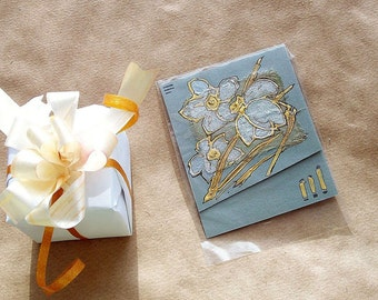 Pearl daffodils - blank art greeting card for any event - yellow gold, pearly, grey, black - floral handmade card - original painting - OOAK