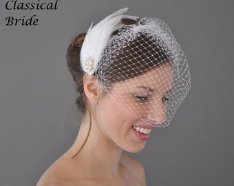"Classic 802 -- VEIL SET w/ RHINESTONE Pearl Feather Fascinator Pad Hair Clip & Ivory or White Birdcage Blusher 9"" Veil for bridal wedding"