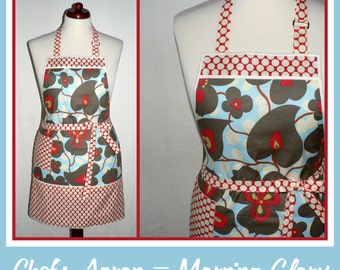 Chefs Apron, Amy Butler Morning Glory fabric, hostess apron, pretty kitchen apron