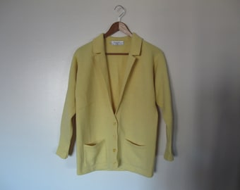 mr rogers cardigan vintage 100% wool mustard yellow shawl collar cardigan XS S small M v-neck grandpa cardigan pockets XS S M
