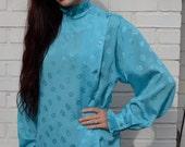 Vintage 70s Cyan Blue Floral Ruffle Blouse - L