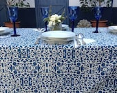 TABLECLOTH /TABLE COVERS - Rectangle table cloth natural cream and mediterranean blue, hand screen printed