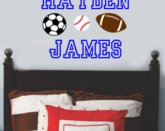 Sports Wall Decal Baby Boy Nursery Name Vinyl Lettering Baseball Football Soccer Personalized Wall Art Kids Children