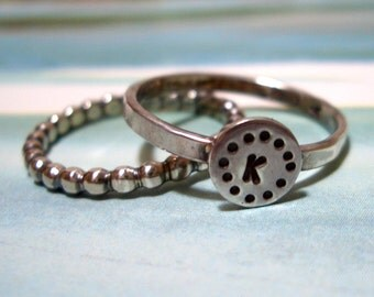 Circles Initial Stacking Bands // Personalized in Sterling Silver