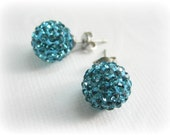 Teal Shamballa Rhinestone Silver Plated Stud Earrings,Turquoise Rhinestone Pave Disco Ball Stud Earrings Posts 10MM - 1 Pair