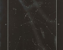Vintage Astronomy Print Aquila Constellation, Stars Map, Home Decor,  Wall Art