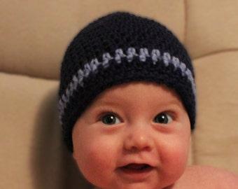 Crochet Baby Beanie in Blues, Crochet Baby Hat, Newborn Hat, Winter Hat, Photo Prop, Baby Boy Hat, Little Boy Hat