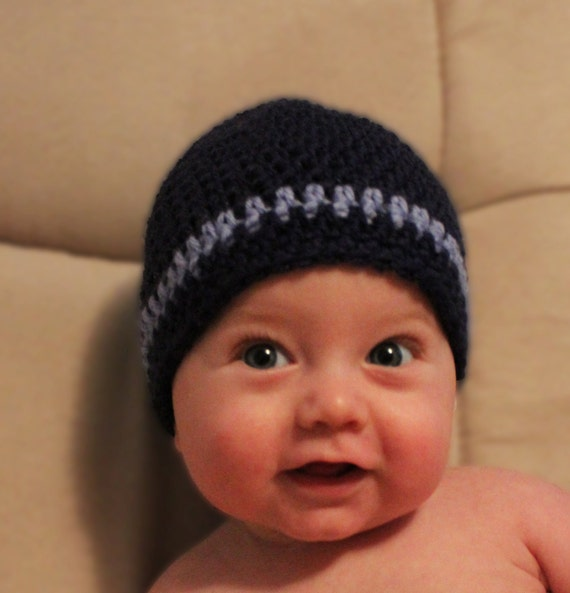 Crochet Baby Beanie in Blues, Crochet Baby Hat, Newborn Hat, Winter Hat, Photo Prop, Baby Boy Hat, Little Boy Hat