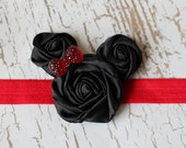 Minnie Mouse inspired Rosette Headband in Red