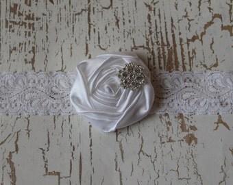 Elegant White Rosette on Lace Elastic White Headband