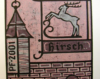 Linocut or woodcut bookplate, Three color printed on white paper, Hirsch, German, signed and dated