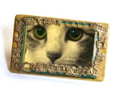Cat Brooch. Cat face brooch. Original cat art. Hand made jewelry. Cat jewelry