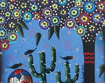 Needlepoint Canvas 14 or 18 count, Day Of The Dead Art, By Lori Everett, Day Of The Dead, DOD, Skull,Cactus