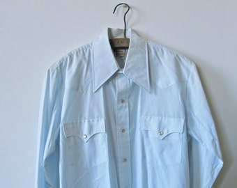 Vintage Mens Western Shirt. Pearl Snappy Button Up. Pale Blue Soft Cotton