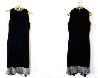 Vintage Dress . 1960s Alfred Bosand Black Velvet Shift Dress with Silver Beaded Trim . Size Medium