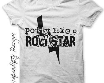 Baby Rock Iron on Shirt PDF - Potty Like a Rockstar Iron on Transfer / Cute Baby Clothes / Kids Rock Shirt / Boys Clothing Tshirt IT170-C