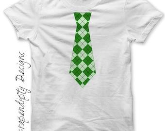Irish Tie Iron on Transfer - St. Patricks Day Iron on / Argyle Green Tie / Kids Toddler Shirt / Celtic Tshirt / Cute Baby Clothes IT92GR-P