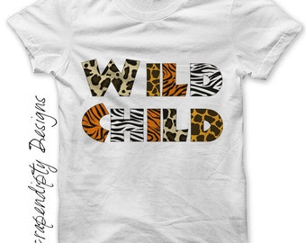 Wild Child Iron on Transfer - Zoo Iron on Shirt PDF / Kids Girls Clothing Tops / Womens Tshirt / Toddler Zoo Shirt / Zebra Giraffe IT197