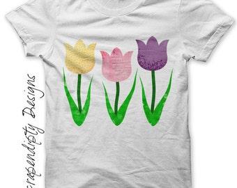 Iron on Flower Shirt - Spring Iron on Transfer / Girls Tulip Shirt / Womens Spring Tshirt / Kid Girl Clothing Top / Flower Printable IT200