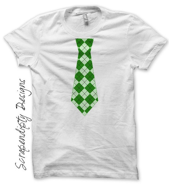 Irish Tie Iron on Transfer - St. Patricks Day Iron on / Argyle Green Tie / Kids Toddler Shirt / Celtic Tshirt / Cute Baby Clothes IT92GR-P