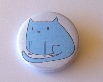 Blue Cat Pinback Button Badge or Magnet 3.5cm