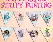 ALICE in WONDERLAND STRIPY Bunting digital printable bunting download for scrapbooking, party printables and graphic design.