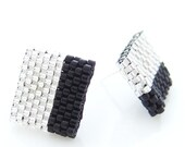Monochrome Earrings, Black and Silver, Color Block Earrings, Square Earrings, Beaded Ear Studs, OOAK Handmade by JeannieRichard