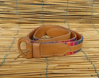 "Vintage 1990's Lady's Tan Faux Leather Rainbow Textile Belt Fits from 33"" to 36"" Waist"