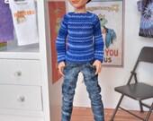 Pullip J-doll Momoko Monster High Boy 27 cm Obitsu doll size hand knitted sweater