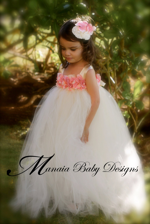 Flower Girl Tutu Dress / Ivory and Pink Flower Girl Dress
