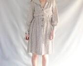 Dress Polika Dots 70's Shirt Dress Small - SouthwestVintage