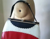 Vintage 1960s Purse - Red White and Blue Vinyl