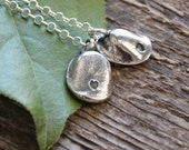 Fingerprint Necklace Personalized In Fine Silver -Men's or Woman's, Custom Actual Fingerprint Pendants