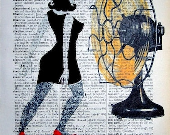 Dancing Girl HOT SUMMER NIGHT  Art Fan print poster dictionary art  illustration drawing Fashion