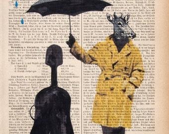 LOVE IN PARIS  Music Rain Art Print Poster Mixed Media Painting Wall Decor Illustration Wall Hanging dictionary print umbrella