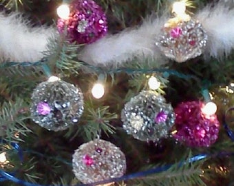 Vintage Ornaments Bottle Brush Decorated  Set of 6 Rare Pastel Colors