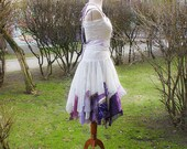 Alternative Wedding Dress Mori Girl Romantic Tattered Ivory Lilac Violet Upcycled Woman's Clothing Funky Style Shabby Chic Eco Friendly