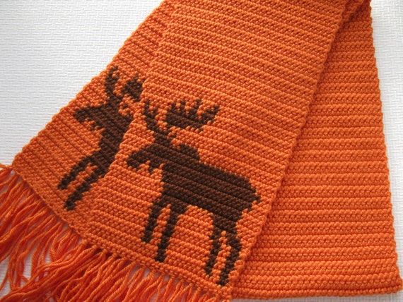 Moose Scarf. Tangerine, crochet scarf with bull moose. Animal scarf.