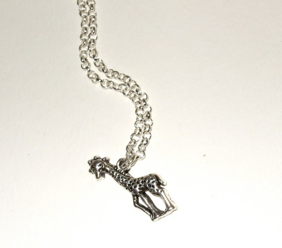 Giraffe Necklace, Animal Pendant, Silver Giraffe Charm, Simple Necklace, Safari Jewelry, Little Giraffe, Everyday Jewelry, Giraffe Jewelry