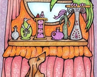 Original Art Bird and Dog at Wizard's Vanity Table 9x6