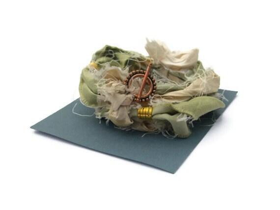 Silk Yoga Bracelet Tender Shoots Pale Green Sari Silk Ribbon Infinity Bracelet Copper Boho Accessory