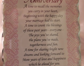 Cut Glass Frame With Anniversary Poem