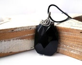 Black Agate Necklace - Geometric Fasceted Gemstone - Silver Wire Wrapping Necklace - Tribal Pagan Gothic Victorian - Unique Jewelry for Her